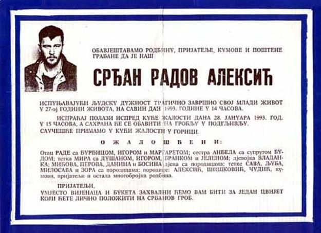 Na današnji dan 1993. pretučen je Srđan Aleksić, ubijen je jer je u divljim vremenima ostao čovjekom